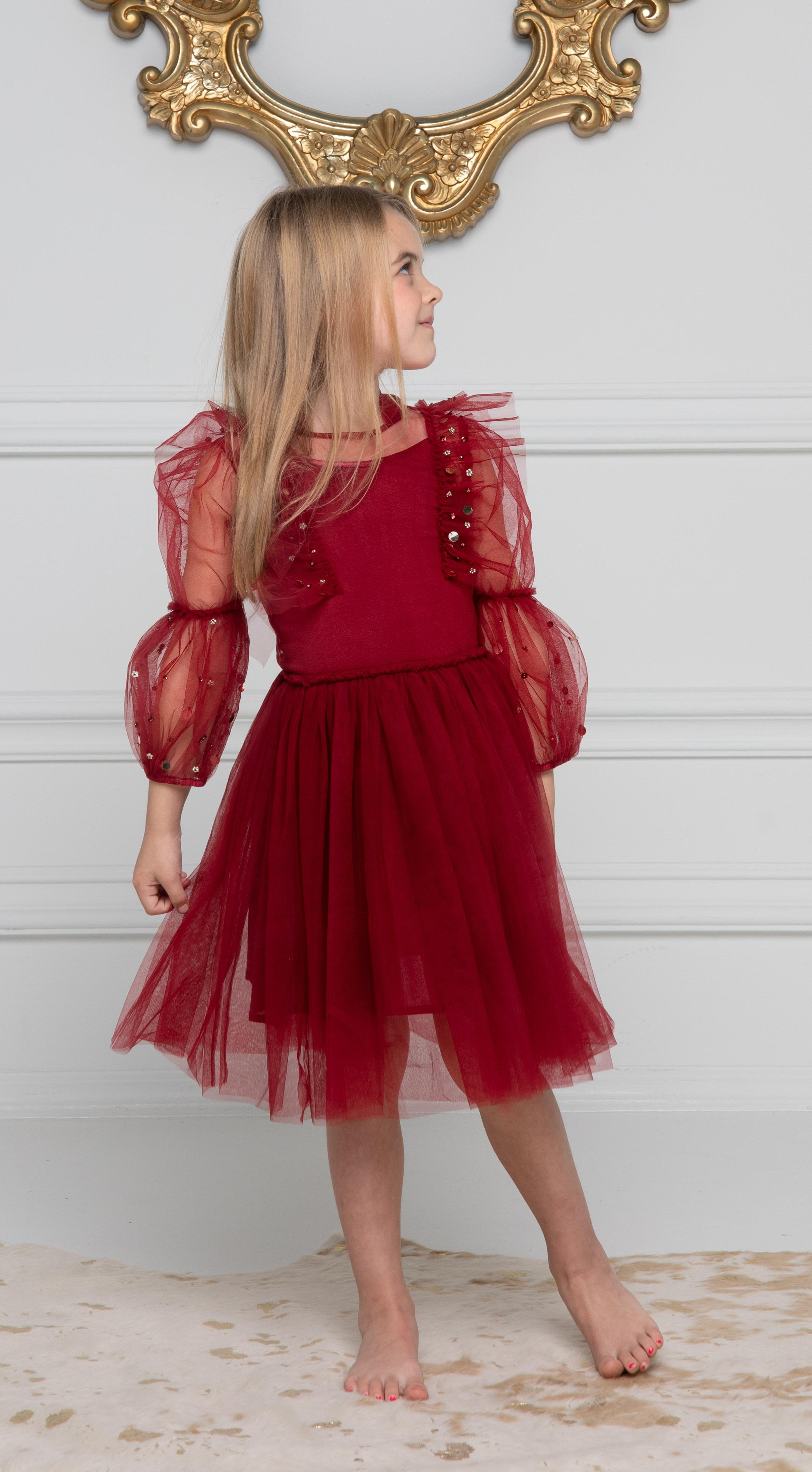 Scarlet Princess with Tulle Sleeves