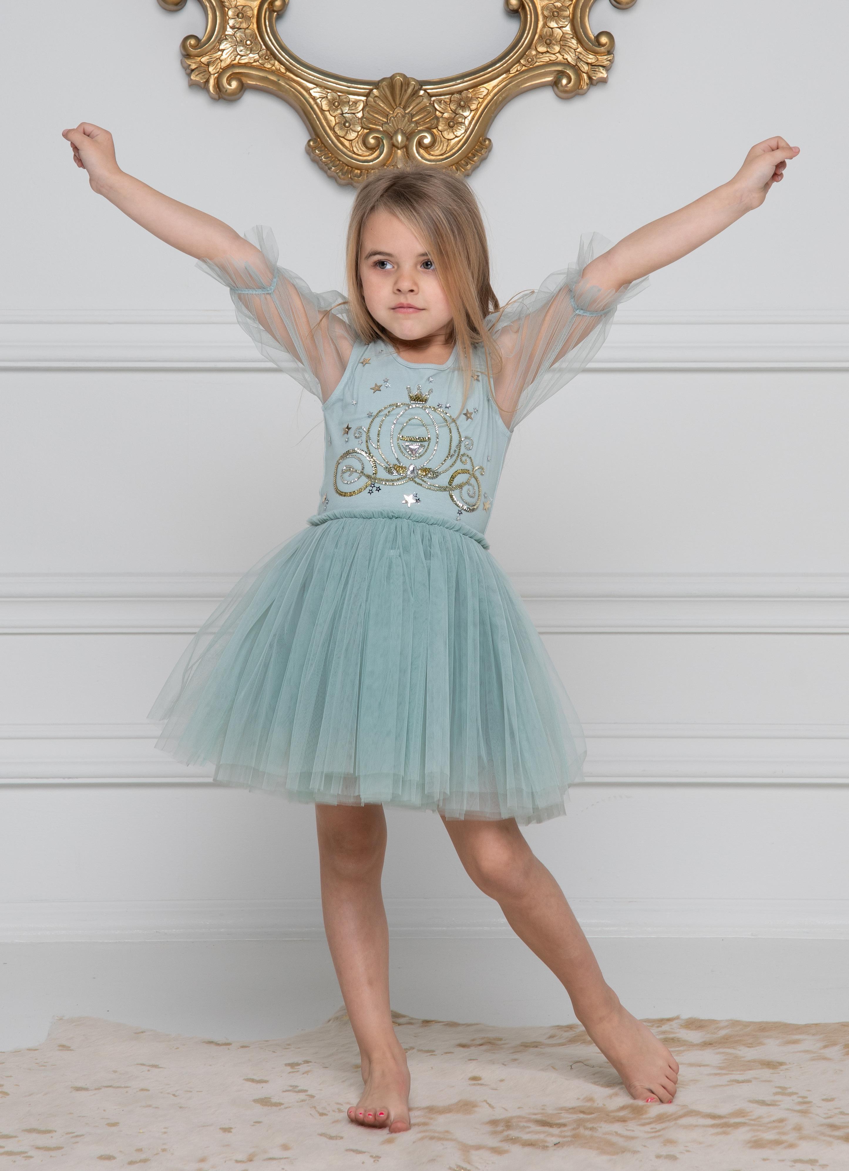Cinderella Carriage Embellished Dress in Sage