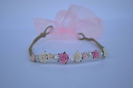 Blushing Rose Garland Crown with Jewels for Baby