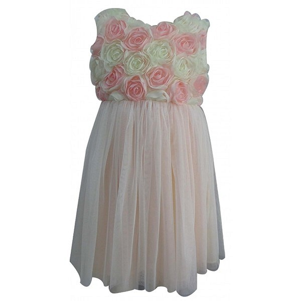 Pink and White Rosette Dress