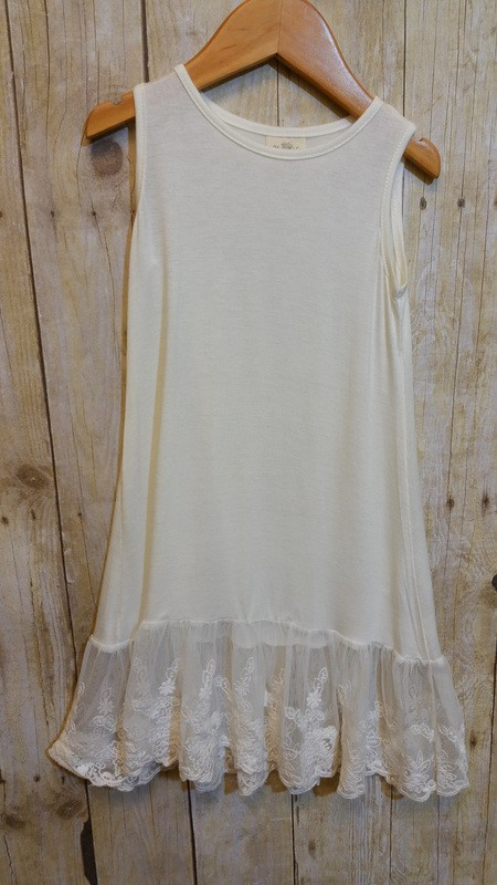 Elegant Lace Hem Tank Dress