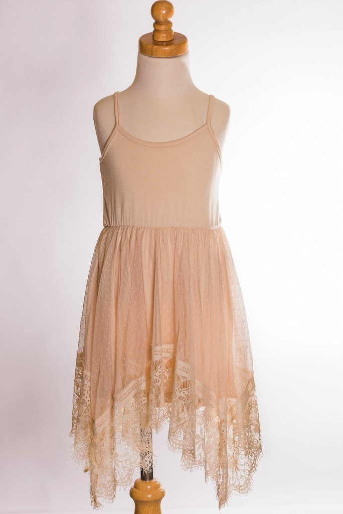 Dripping In Lace Tank Taupe Dress