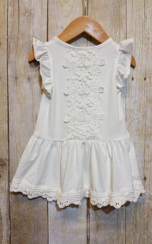 Crochet Lace Back Ruffle Cap Sleeve Top