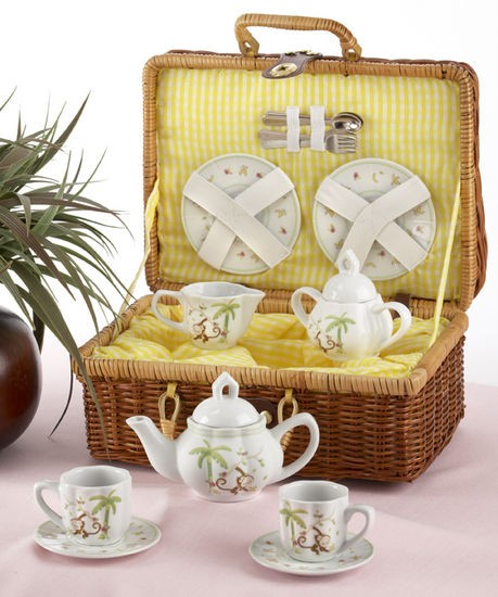 Monkey Tea Set with Basket