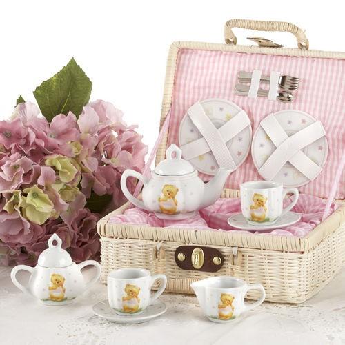 Teddy Bear Tea Set in Basket